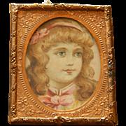 SALE Antique dollhouse framed lithograph