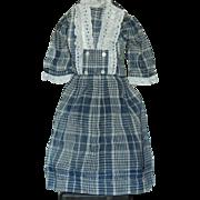 Pretty blue plaid doll dress