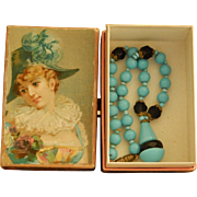 Antique Jumeau French necklace in paper box