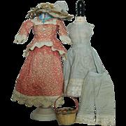 "French fashion 12"" doll antique trousseau"