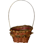 Small antique pink & brown straw basket