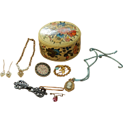 Antique doll jewelry in old painted box