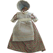 SALE Small vintage doll dress w/bonnet & apron