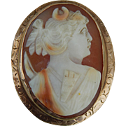 Antique 10KT gold Diana cameo pendant/pin