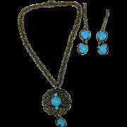 "Beautiful antique ""Jumeau blue"" doll jewelry"