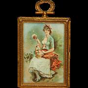 Antique large scale dollhouse picture