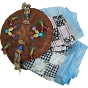 Antique sewing basket & doll quilt tops
