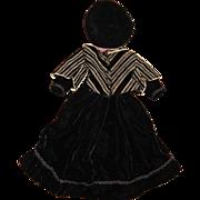 Gorgeous velvet bustled doll dress