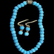 "Gorgeous ""Jumeau blue"" glass doll jewelry"