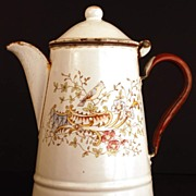 SOLD Antique Nineteenth Century French Enamel Coffeepot