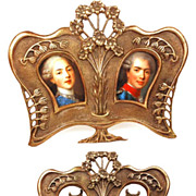 SOLD Antique French Bronze Double Picture Frame