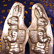 SOLD Rare Large Two Sided Standing Easter Rabbit Metal Chocolate Mold (German)