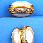 "SOLD Antique Napoleon III Mother of  Pearl ""Boite a Chapelet Coquillage"""