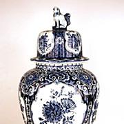 SOLD Vintage Hand Painted Delft Blue Ginger Vase