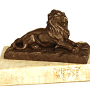 SOLD Antique Nineteenth Century French Metal Figural Lion Sculpture