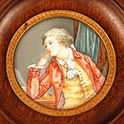 Antique Nineteenth Century Miniature Hand Painted Portrait