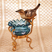 SOLD Antique French Vide Poche w/Bisque Songbird and Gilded Brass Mount