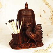 SOLD Antique German Hand Carved Figural Black Forest Tobacco Box w/Match Holder