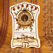 SOLD West Germany Porcelain Mantel Clock w/Handpainted Pastoral Scene