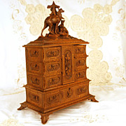 SOLD Antique Carved Jewelry Cabinet w/Carved Animal Vignette