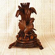 SOLD Antique Black Forest Carved Figural Candle Holder