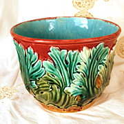 SOLD Antique French Majolica Cache Pot
