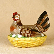 SOLD Rare Antique Nineteenth Century Staffordshire Nesting Hen on Basket