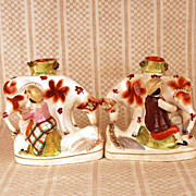 SOLD PAIR of Antique Nineteenth Century Staffordshire Figural Spill Vases