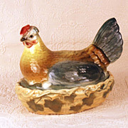 SOLD Antique French Majolica Nesting Hen