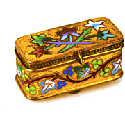 SOLD Rare 19th c. Miniature French Gilded Bronze Champleve Box