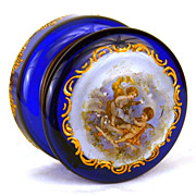 SOLD Antique 19th Century French Cobalt Vanity Box w/Hand Painted Enamel Medallion