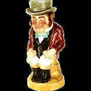Sarreguemines Majolica/Barbotine Character Pitcher: Seated Man