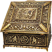 """Antique French Cast Bronze """"Repousee"""" Marriage Box"""