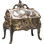 Antique Nineteenth Century Cast Metal Argente French Bijoux Box in Form of French Standing ...