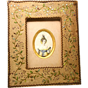 Antique Hand Work Embroidery Frame with Color LIthograph