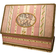 SOLD Large French Boudoir Box with Central Color Lithograph Scene