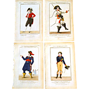 """RARE Set of Four Antique Eighteenth Century Copper Plate Hand Colored Engravings """"Galerie"""