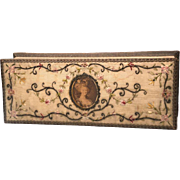 SOLD Exceptional Antique Nineteenth Century Embroidered Fabric Glove Box with Marie Antoinette