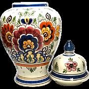 De Porceleyne Fles Delft Polychrome Tin Glazed Ginger Jar Urn with Lid