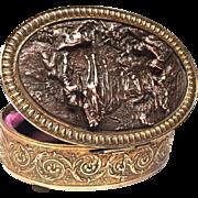 Antique Nineteenth Century Copper Repousse Gilded Brass Trinket Box