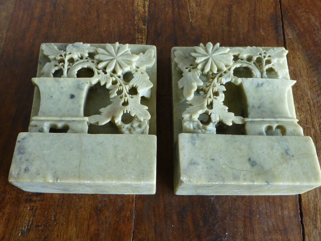 Antique Chinese Carved Soapstone Bookends From Historique