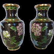 SOLD Vintage Cloisonné Vases Pair