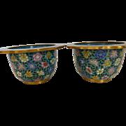 Vintage Cloisonné Flower Pots Pair