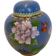 Vintage Chinese Cloisonné Ginger Jar Pot with Lid