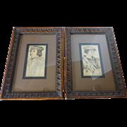 SOLD Vintage H. Hal Kramer Co, Chicago Antiqued Prints Framed PAIR