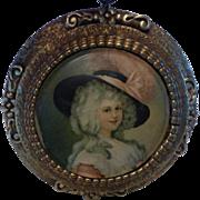 Vintage Italian Florentine Gold Gilt Round Wood Frame Portrait Print