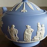 Wedgwood Jasperware Blue Sugar Bowl with Lid