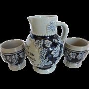 Vintage German Salt Glazed Stoneware 1/2 Liter Wine Pitcher w 2 Cups Grapes Blue ...