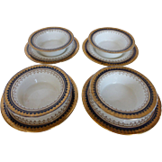 "Antique BOOTHS English Bone China ""Or Repousse"" 4 Crème Brûlée Dishes w Under Plates Co"