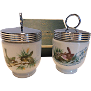 Royal Worcester Egg Coddlers BIRDS Standard Pair in Box Type 7 Mark